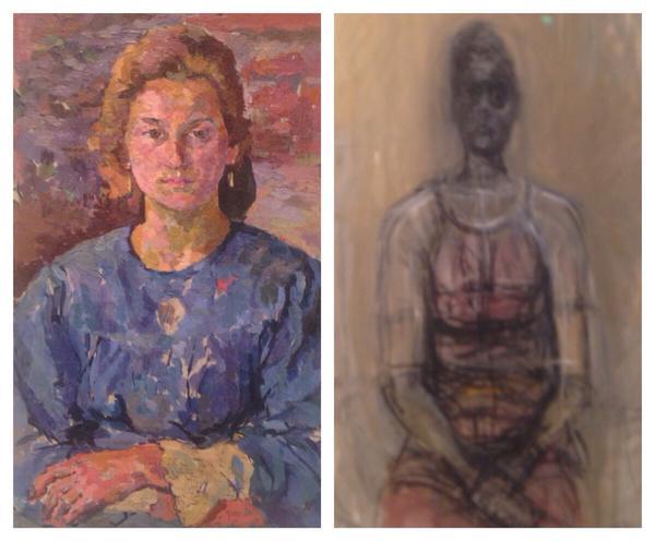 Giacometti'nin 1910larda postempresyonist babasının izinde başlayıp 1960larda varoluşçuluğa uzanan öyküsü yaptığı kadın portrelerinde açıkça görülüyor: solda Ottilia, sağda Kırmızı Elbiseli Caroline.