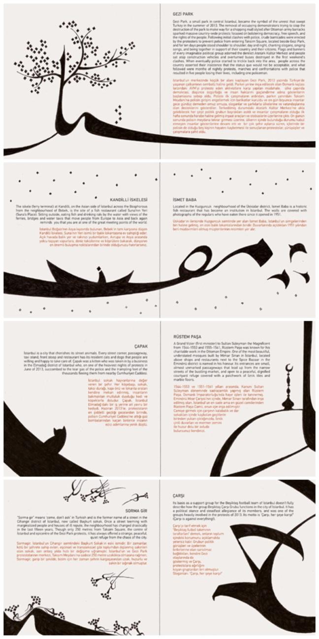 Yeşim Tosuner'in kitapçık tasarımında yer alan çizimler, ufak bir İstanbul turu gibi